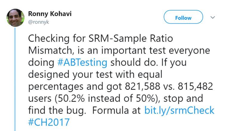 Sample Ratio Mismatch