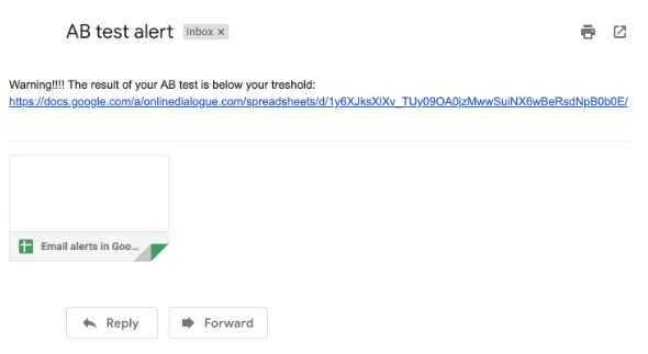 email alerts in google sheet